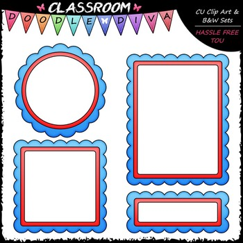 FREEBIE Patriotic Cover Page Accents Clip Art - Frames Clip Art & B&W Set