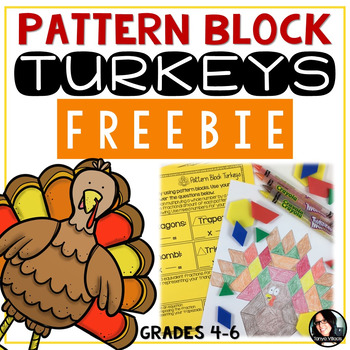 FREEBIE Pattern Block Turkeys Thanksgiving Math Activity FREE Grades 4-6