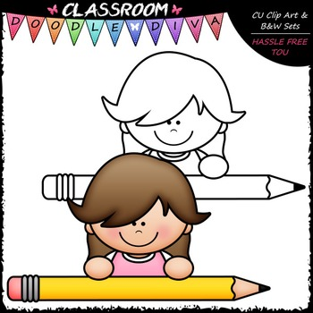 FREEBIE Pencil Page Topper Kid Clip Art