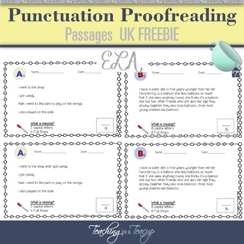 FREEBIE - Proofreading Passages UK Spelling