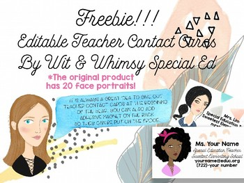 FREEBIE! Personalized Teacher Contact Business Card with Avatar