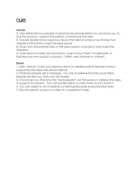 FREEBIE: Persuasive Techniques Crossword Puzzle [REVIEW]