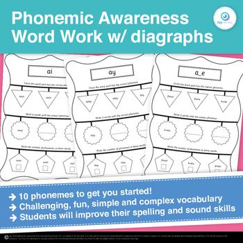 FREEBIE Phonemic Awareness and Diagraph Literacy Center Activities