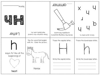FREEBIE Phonics / Letter H Mini Book Craft