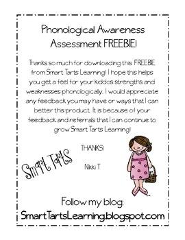 FREEBIE ~ Phonological Awareness Assessment