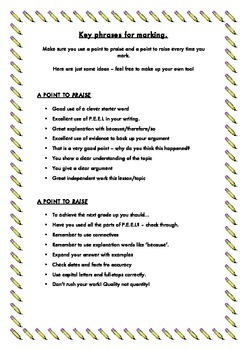 FREEBIE - Phrases for marking class work