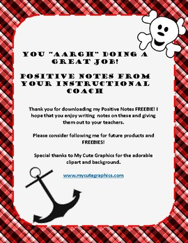 FREEBIE! Pirate Theme Notes from Your Instructional Coach Template