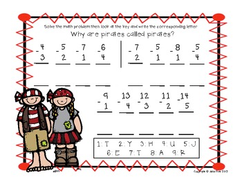 FREEBIE Pirates Secret Math Message