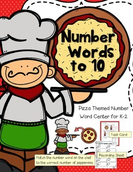 FREEBIE--Pizza Number Words to 10-- Math Center for K-2