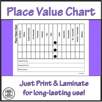 Place Value Chart Printable Teaching Resources Teachers Pay Teachers