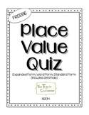 FREEBIE - Place Value Quiz (word, expanded, standard form - includes decimals)