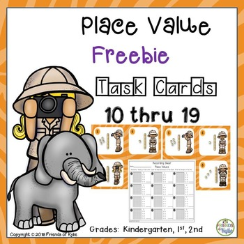 FREEBIE Place Value Task Cards 10 thru 19
