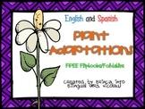 FREEBIE Plant Adaptations Foldable ENGL - Adaptacion de las plantas SPAN
