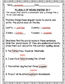 FREEBIE Plural Nouns Practice