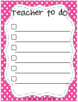 ***FREEBIE*** Polka Dot Teacher To Do List