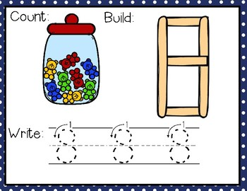 FREEBIE--Popsicle Sticks Numbers--A Count, Build, Write Center for PK-2