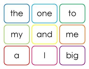FREEBIE Pre-Primer Sight Word Flash Cards