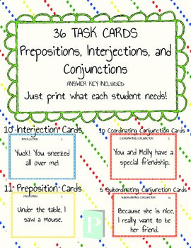 FREEBIE Preposition, Interjeciton and Conjunction 36 Task Cards