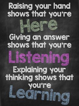 FREEBIE Present vs. Listening vs. Learning Motivational Poster
