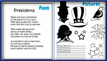 Presidents' Day Card-Making Kit! Poems, Pictures, Text, & Characters!