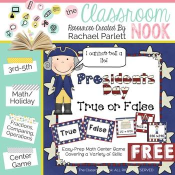 FREEBIE: President's Day Math Activity (True or False Math Sentences)