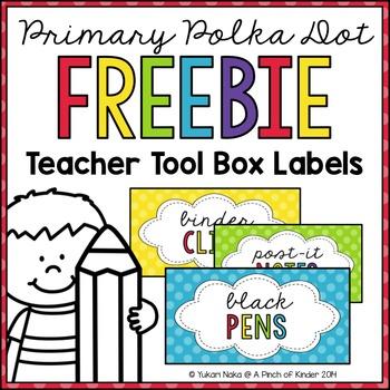 {FREEBIE} Primary Polka Dot Teacher Toolbox Labels