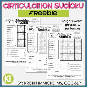 FREEBIE - Print and Go Articulation Sudoku - No Prep