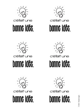 FREEBIE Printable French Positive Sticky Notes Sampler