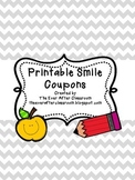 {FREEBIE!} Printable Smile Coupons for Behavior Management