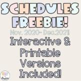 FREEBIE! Printable and Digital Calendars Nov. 2020- December 2021
