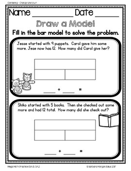 FREEBIE Problem Solving Eleven Addition and Subtraction Types 1.OA.1