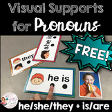 FREEBIE: Pronoun Visual Supports - he/she/they + is/are for Speech Therapy