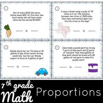 FREEBIE - Proportion Worksheets and Task Cards