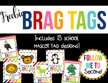 "FREEBIE ~ ""Proud to be a""School Mascot Colorful Brag Tag Set"
