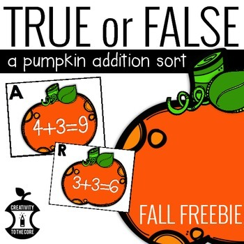 FREEBIE Pumpkin Addition Sort