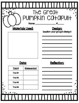 FREEBIE! Pumpkin Catapult STEM Activity Recording Sheet