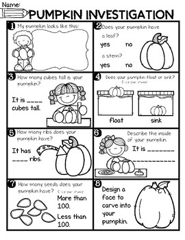 FREEBIE--Pumpkin Math Page for K-1