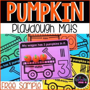 FREEBIE Pumpkin Playdough Counting Mats FREE SAMPLE by Lil' Sprouts PreK