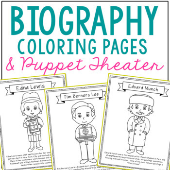 FREEBIE! Biography Coloring Pages, Puppet Theater History Center, Social Studies