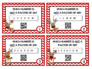 FREEBIE! QR Code Fun: Reindeer Games Factor Task Cards