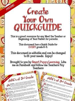 FREEBIE Quick Guide for Parents Editable