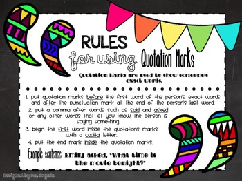 ***FREEBIE*** Quotation Marks Anchor Chart