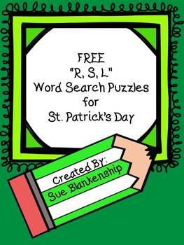 """{FREEBIE} """"R, S, L"""" Word Search Puzzles for St. Patrick's Day"""