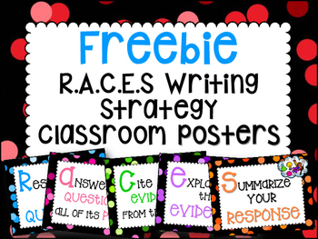 FREEBIE RACE Writing Strategy Classroom Posters *FREE*