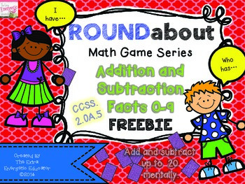 FREEBIE ROUNDabout Math Game Series:  Addition and Subtraction 0-9