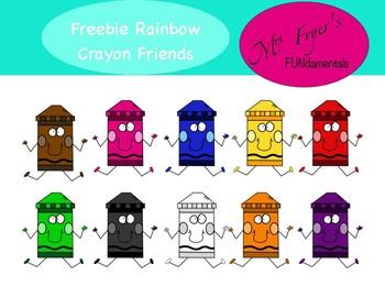 FREEBIE Rainbow Crayon Friends Clip Art