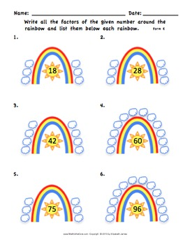 FREEBIE -  Rainbow Factors of a Number Worksheet 4.OA.4