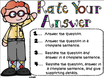 FREEBIE Rate Your Answer Chart