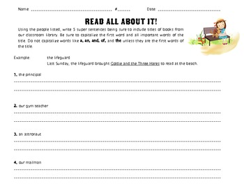 FREEBIE Read All About it! Grammar Practice Writing Book Titles