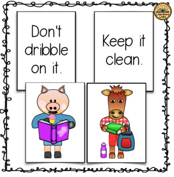FREEBIE Read It, Don't Eat It Library Book Care Pocket Chart Cards